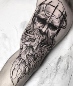 Netune done in ideas for Trendy Tattoos, Unique Tattoos, Tattoos For Guys, Tattoos For Women, Cool Tattoos, Hades Tattoo, 4 Tattoo, Skull Tattoos, Black Tattoos