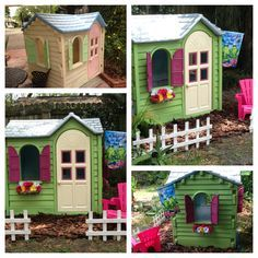 """I just got Autumn a new (to her) playhouse at a yard sale that needs spruced up. Original pin said """"Playhouse I bought for $25 and painted with Valspar spray paint. Primed with plastic spray primer."""" I will definately be trying this."""