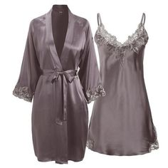 Style: Silk Nightgown and Robe SetFabric: 19 Momme Grade AAA Mulbbery SilkInternational Certification: OEKO-TEX Standard 100 robe Long Silk Nightgown And Robe Set With Lace Flowers Cute Sleepwear, Silk Sleepwear, Lingerie Outfits, Cute Lingerie, Purple Lingerie, Long Silk Nightgown, Robe Silk, Silk Gown, Silk Satin