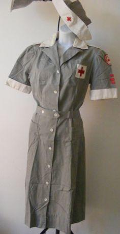 WWII Vintage 1940s American Red Cross Uniform Dress Volunteer Nurse Uniform | eBay