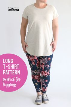Tunic length long t-shirt sewing pattern perfect for wearing with leggings! How to make a long tee #itsalwaysautumn #sewingpattern #longshirt