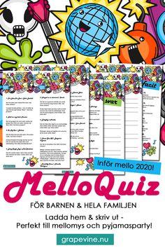 Musikquiz för barn: Melloquiz Ett superkul musikquiz för barn med låtarna från mellon som ungarna älskar och följdfrågor om sådant som bara de vet! Quizet är perfekt för en mellofest, ett pyjamasparty eller bara för mellomys med vännerna! #quiz #musikfrågesport #frågesport #mello #mello2020 #musikquiz
