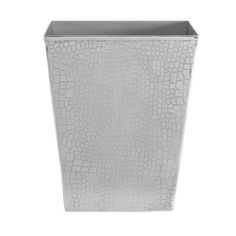The handcrafted technique behind this striking bin creates a modern crazy-paving effect on sleek stainless steel. The tapered shape is classic, simple and practical. Zoom in on the image to see in detail the attractive reflective effect of the steel and the curved edges. This would work well in a room featuring antique or contemporary silvers, or would make an attractive bathroom bin, complimenting white suites with chrome accessories. #HomeDecor
