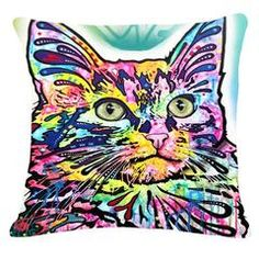 Colorful Mosaic Cat Throw Pillows Cat Cushion, Cushion Covers, Throw Pillow Covers, Throw Pillows, Sofa Throw, Cushion Pillow, Angora Cats, Wall Stickers Animals, Cat Throw