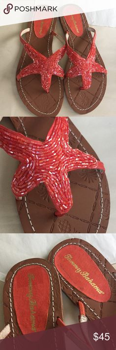 NWOT Tommy Bahama Beaded Starfish Flip Flops Brand new beaded flip flops! Super cute with a beaded starfish on the top in the classic orange color! Absolutely perfect for the summer beach trip! Shiny patent finish uppers with bugle beading and leather soles with rubber bottoms. Cute pineapples stamped over the soles.   🌟same or next day shipping on all orders (except weekends)🌟make me an offer!🌟 Tommy Bahama Shoes Sandals