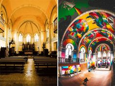 A historic church in the Spanish city of llanera was transformed into a skate-park earlier this year by La Iglesia Skate; titled Kaos Temple, it has now undergone a second, more colorful transformation at the hands of street-artist Okuda San Miguel. Transformers, Living In A Shed, East Los Angeles, Okuda, Old Churches, Skate Park, Street Artists, Architecture, Installation Art