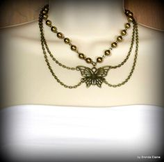 Butterfly Necklace with Bronze Pearls in Antique Brass | byBrendaElaine - Jewelry on ArtFire