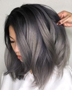 Image result for charcoal balayage front view