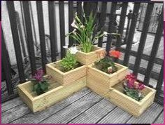 garden Planters Decking - Wooden 3 tier corner garden decking planter fully lined mitred corners. The Effective Pictures We Offer You About Garden Planters brick A quality p Deck Planters, Wooden Garden Planters, Tiered Garden, Flower Planters, Railing Planter Boxes, Cheap Planters, Tiered Planter, Garden Pallet, Wooden Terrace