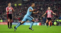 Sergio Aguero of City celebrates after scoring the first Manchester City goal during the Barclays Premier League match between Sunderland and Manchester City at Stadium of Light on December 3, 2014 in Sunderland, England.