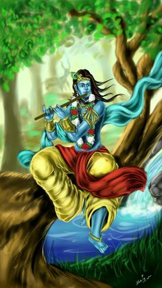 Krishna with flute Krishna Radha, Lord Krishna, Shiva, Hare Rama Hare Krishna, Sita Ram, Indian Artwork, Lord Vishnu Wallpapers, Radha Krishna Wallpaper, Krishna Painting