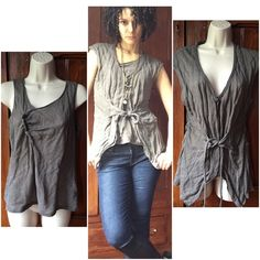 Transit Par-Such 2-Piece Tank/Cardi Set Another auntie's closet find, this set is really unique. I love the irregular v-neck on the tank and the stitching on the cardi. The color is gray with hints of light brown. Slightly sheer but the double layer negates that effect. The color is closest to the top two pics of the third set. Cardi has snaps and a tie. There are some raw hems. Truly a unique piece. No tag for size but it's definitely an XS. Transit Par-Such Tops Tank Tops