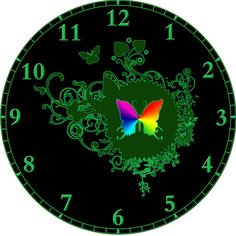 Dark Green and Rainbow colored Butterfly Clock. See the different clocks you can buy with my designs on http://www.cafepress.com/sammysmomscustomdesign