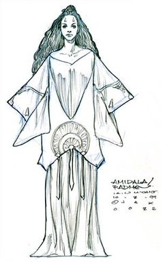 Star Wars Padme Amidala Tatooine Blue Dress - Original Concept Art