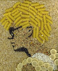 """Pasta Adam Clayton"" by Kelly Eddington: Tastless but kind of great portrait of a young, afro-ed Adam Clayton made with pasta and seeds. Macaroni Art, Seed Craft, Pasta Crafts, Pasta Art, Crafts For Kids, Arts And Crafts, Bible School Crafts, Trash Art, Organic Art"