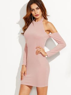 12$  Watch now - http://dicm4.justgood.pw/go.php?t=5543 - Pink Halter Neck Cold Shoulder Sheath Dress