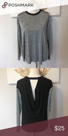 Zara Waterfall Back Metallic Sweater Easy light silver metallic front with a cool open waterfall drape back. Zara Sweaters Crew & Scoop Necks