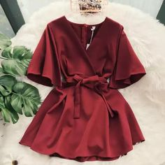 New Chic Casual Pure Color Temperament V-neck Horn Sleeve High Waist Dress - Trendy Dresses Trendy Dresses, Simple Dresses, Elegant Dresses, Cute Dresses, Fashion Dresses, Summer Dresses, Maxi Dresses, Awesome Dresses, Formal Dresses
