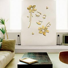 Yanqiao 21pcs DIY Patterns Mirror Surface Crystal Wall Stickers Acrylic 3D Home Decoration Children's Room Nursery Decor Living Room Beautiful Girl Flowers Murals Wall Paper adesivo de parede,Gold ^^ You will love this! More info here : home diy improvement