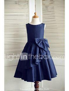 A-line Knee-length Flower Girl Dress - Taffeta Sleeveless 2017 - $44.99