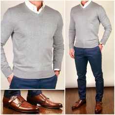 The majority of you guys tend to favor v-neck sweaters over crewneck, and I'm definitely listening. 🗣👂🏼I'll try to mix in more v-neck looks… Mens Fashion Wear, Suit Fashion, Fashion Boots, Stylish Men, Men Casual, Moda Formal, Mode Man, Herren Outfit, Business Casual Outfits