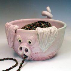 Pale Pink Piggy Yarn Bowl Handmade Ceramic OOAK - pinned by pin4etsy.com