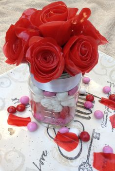 Fruit Roll-Up Roses close up view. Great for your guy this Valentine's Day!