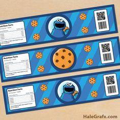 cookie monster water labels FREE Printable Cookie Monster Water Bottle Labels