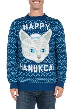 Men's Happy Hanucat Sweater