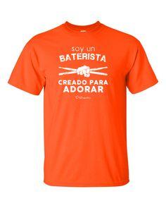 Baterista para Adorar - Orange T-Shirt via D'Angelus. Click on the image to see more!