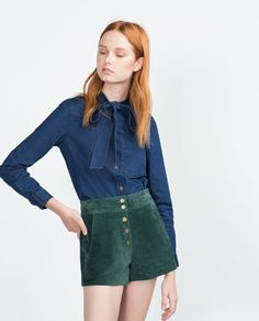 DENIM SHIRT WITH BOW-Blouses-Tops-WOMAN | ZARA United States