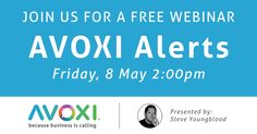 "Please Join us Friday, May 8th at 2:00 PM for our Free Webinar ""Because Business is Calling"" - Bulk SMS, reaching people where they are.  This #webinar will discuss what it takes to send out many SMS messages at once and take a look at AVOXI Alerts, a bulk SMS sending application: https://plus.google.com/events/cv5giumpqg8ur7p0k91vgrv0voc"