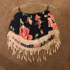 Floral tube top Navy blue with pink flowers, crop top, tube top, and has special design at the bottom Forever 21 Tops Crop Tops