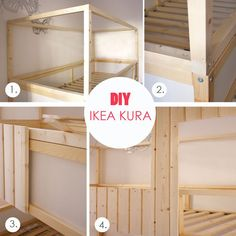 Kinderhochbett ikea  Kids hand made bunk bed hammock made with that Ikea bunk bed with ...