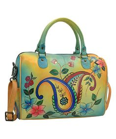 Another great find on #zulily! Jaipur Paisley Spring U-Strap Hand-Painted Leather Satchel #zulilyfinds
