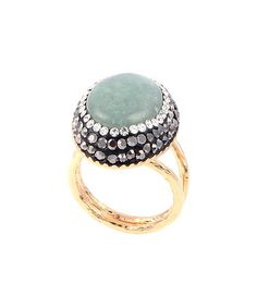 Look at this #zulilyfind! Simulated Jade & Gold-Plated Triple-Halo Split-Shank Ring #zulilyfinds