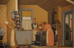 Grant Wood - Dinner for Thresheres - Bing images Iowa, Grant Wood Paintings, Social Realism, Art Fund, New York Museums, American Gothic, Whitney Museum, Modern Prints, Modern Art