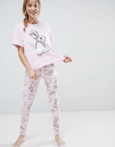 Browse online for the newest ASOS Rabbit PomPom Tee & Legging Pajama Set styles. Shop easier with ASOS' multiple payments and return options (Ts&Cs apply). Cute Pajamas, Girls Pajamas, Pajamas Women, Dress Clothes For Women, Girls Fashion Clothes, Fashion Outfits, Loungewear Outfits, Pajama Outfits, Cute Comfy Outfits
