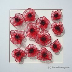 Anne Honeyman - Poppies Machine embroidery on dissolvable fabric. 30cm x 30cm, framed. Available, £195.