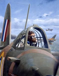 Battle of Britain, British Fighter Pilot, Convention box art, by Larry Selman Ww2 Aircraft, Fighter Aircraft, Military Aircraft, Fighter Jets, Fighter Pilot, Mustang, Hawker Hurricane, War Thunder, Ww2 Planes