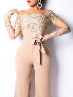 boutiquefeel / Flower Embroidery Off Shoulder Wide Leg Jumpsuit Wedding Jumpsuit, Lace Jumpsuit, Prom Jumpsuit, Elegant Jumpsuit, Jumpsuit Outfit, Jumpsuits For Women, Evening Dresses, Formal Dresses, Fashion Clothes