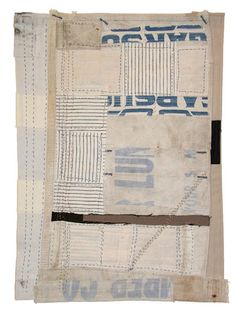 "Path of Least Resistance • Lisa Hochstein 11"" x 15"" Hand stitching on salvaged fabric"