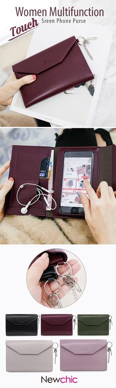 US$11.96 Women Multifunction Touch Screen Phone Purse 2 Card Slots Card Holder Wallet