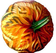 Beautiful pumpkin carving designs by professional fruit carver Chef Carl Jones. Veggie Art, Fruit And Vegetable Carving, Pumpkin Art, Pumpkin Carvings, Carved Pumpkins, Fruit Carvings, Food Sculpture, Creative Pumpkins, Food Carving