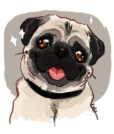 Exactly what if you threw a pug party and EVERYBODY came. with their pugs? Animals And Pets, Cute Animals, Pug Art, Pug Pictures, Cartoon Dog, Dog Paintings, Pug Love, Clipart, Cute Dogs