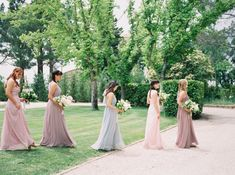 c100aa6180 A Romantic Destination Wedding at a Chateau in Provence. Grey Bridesmaid  GownsFlattering Bridesmaid DressesBridesmaid Dresses Under 100Romantic ...