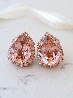 Blush earrings,Rose gold morganite earrings,Rose gold bridal earrings,blush pink bridesmaid earrings,blush stud earrings,Swarovski earrings by EldorTinaJewelry | http://etsy.me/2kAVRRV