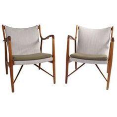 Finn Juhl Pair of NV45 Chairs for Niels Vodder