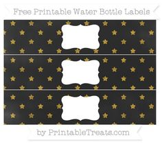 Free Gold Star Pattern Chalk Style Water Bottle Labels