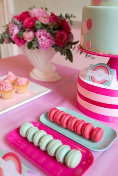 A Pink and Mint Dessert Table Shoot